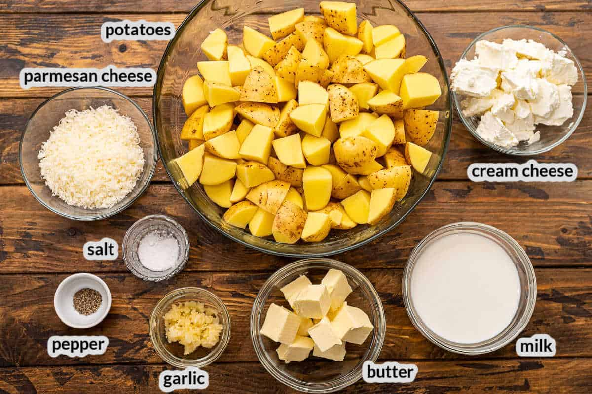Overhead image of Crock Pot Mashed Potatoes Ingredients in bowls