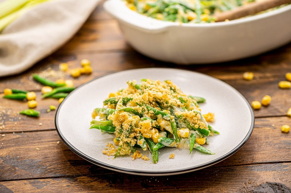 Green Bean Corn Casserole on a white plate