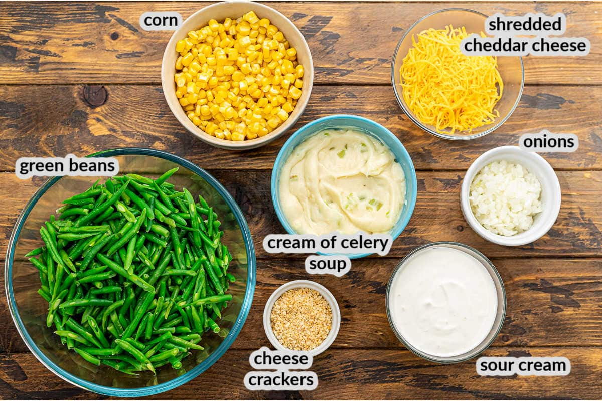 Overhead image of Green Bean Corn Casserole Ingredients in bowls