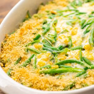 Green Bean Corn Casserole in a white casserole dish