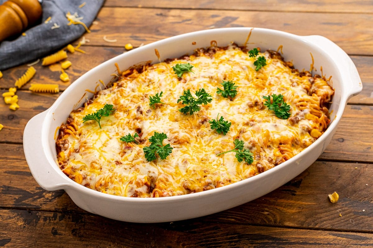 Mexican Pasta Bake in white casseroled dish