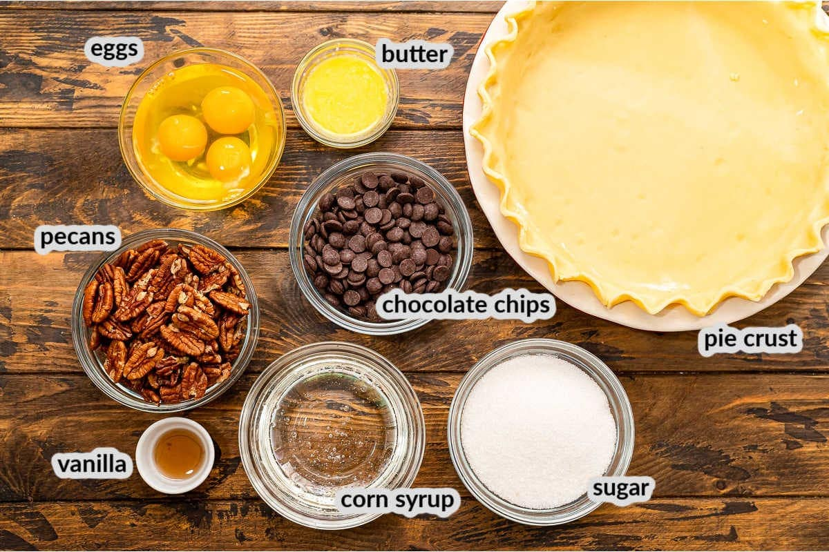 Overhead Image of Pecan Pie Ingredients