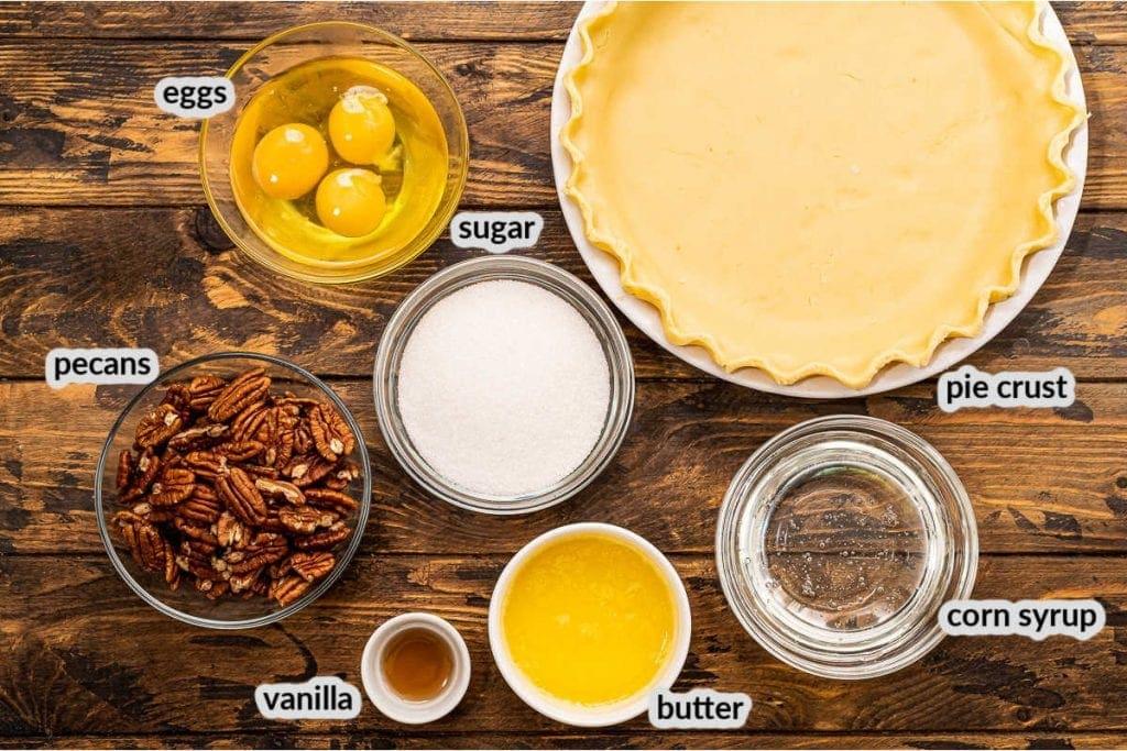 Overhead Image of Pecan Pie Ingredients