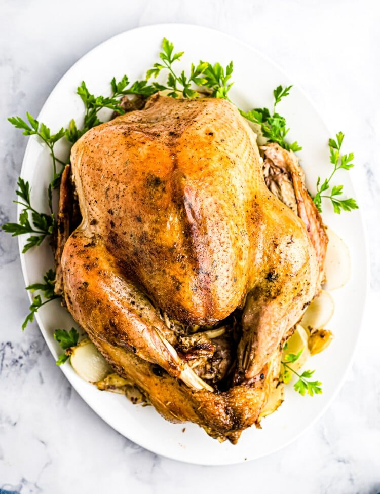Easy Roast Turkey on a white plate with greens under it.