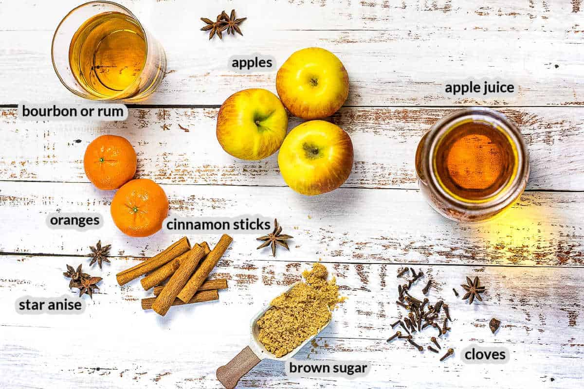 Overhead Image of Spiked Apple Cider Ingredients