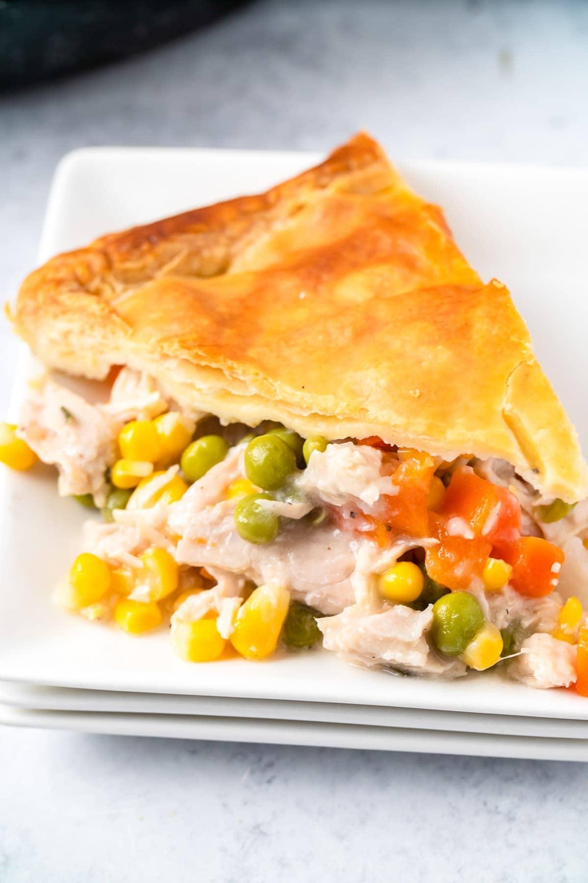 Turkey Pot Pie slice on white plate