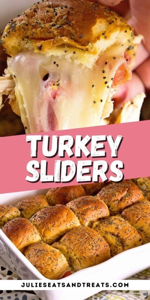 Turkey Sliders Pinterest Collage with text overlay of recipe name in middle