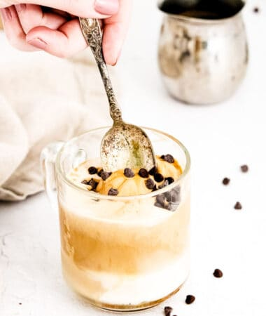 Spoon taking a spoonful of Affogato out of glass