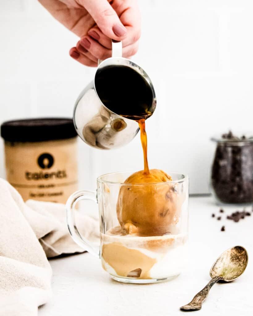 Pouring espresso for Affogato over gelato