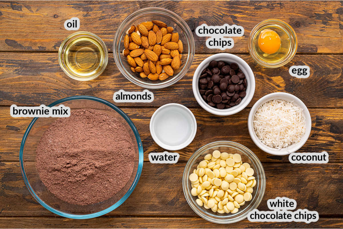 Overhead Image of Almond Joy Cookies Ingredients with text labels