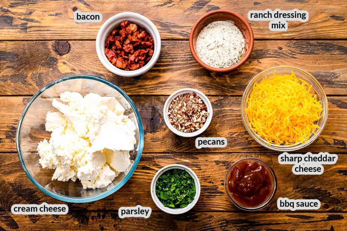 Overhead image of Bacon Ranch Cheese Ball Ingredients