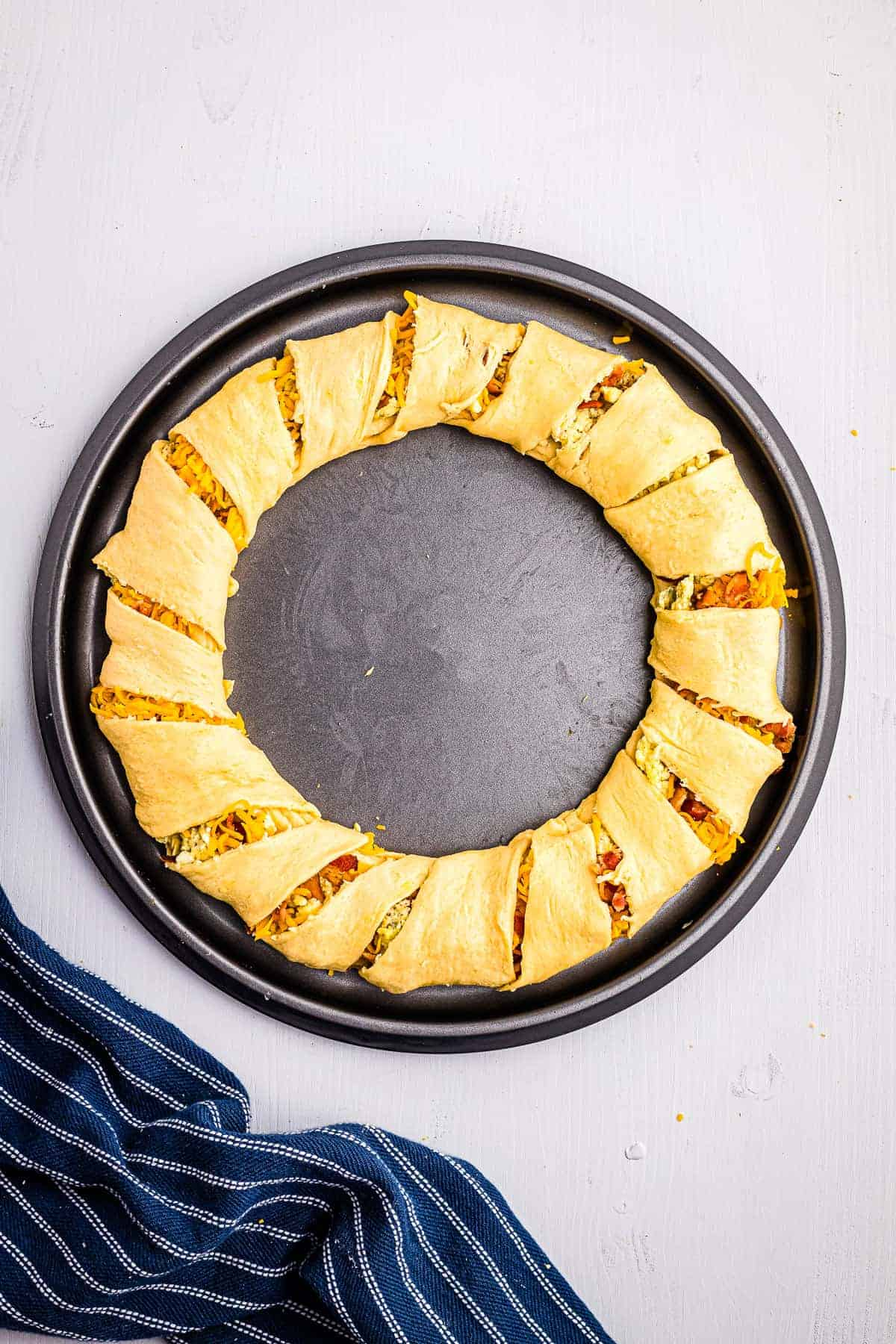 Overhead image of breakfast crescent ring before baking.