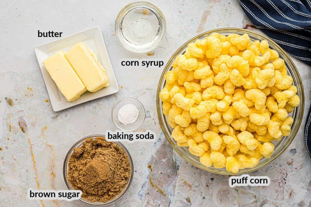 Overhead image of Caramel Puff Corn Ingredients