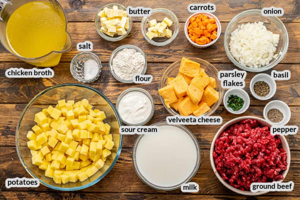 Overhead Image of Cheeseburger Soup Ingredients