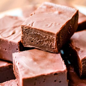 Stack of chocolate fudge on plate