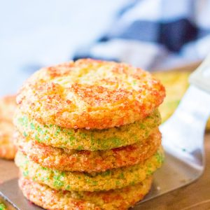 Stack of Christmas Snickerdoodles on a spatula