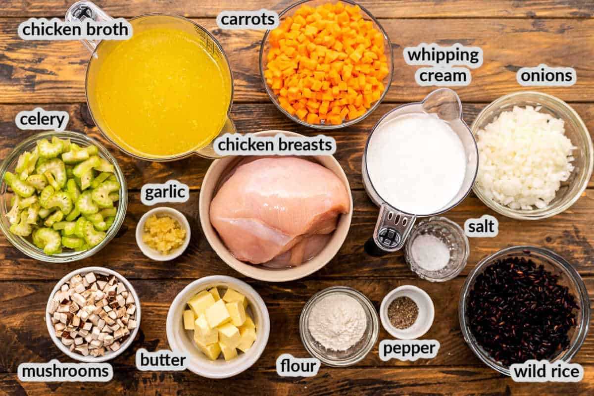 Overhead Image of Instant Pot Chicken Wild Rice Soup Ingredients in bowls
