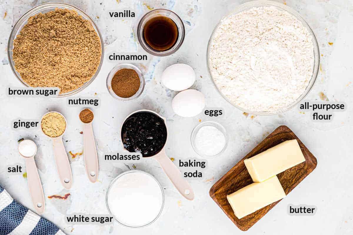 Overhead image of Molasses Cookies Ingredients