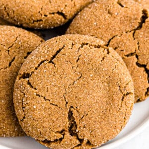 Molasses Cookies on a white plate