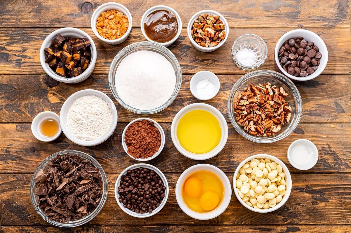 Overhead image of Turtle Brownies Ingredients