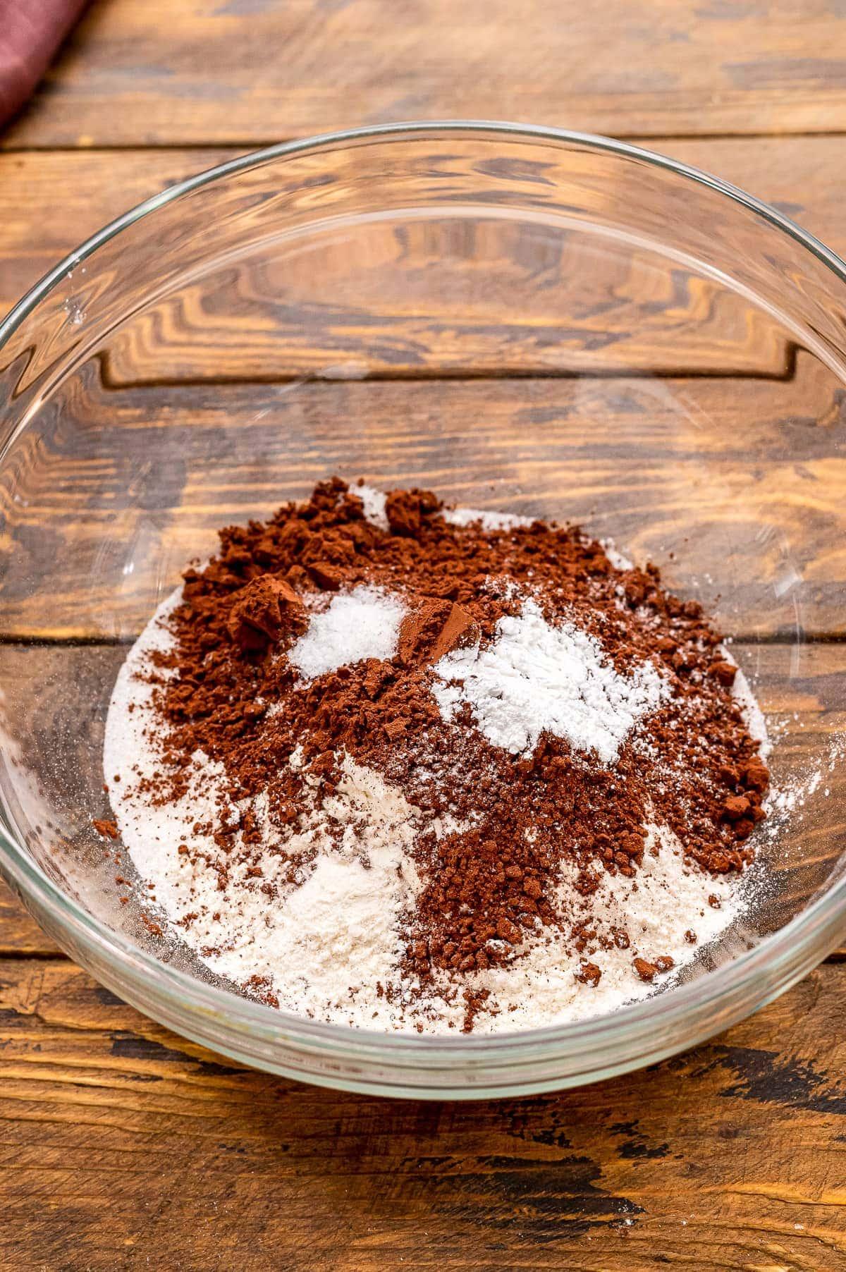 Brownie Ingredients in glass bowl before mixing.