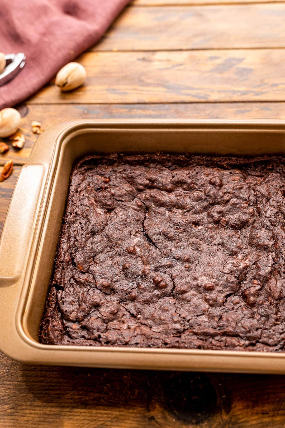 Square pan with homemade brownies