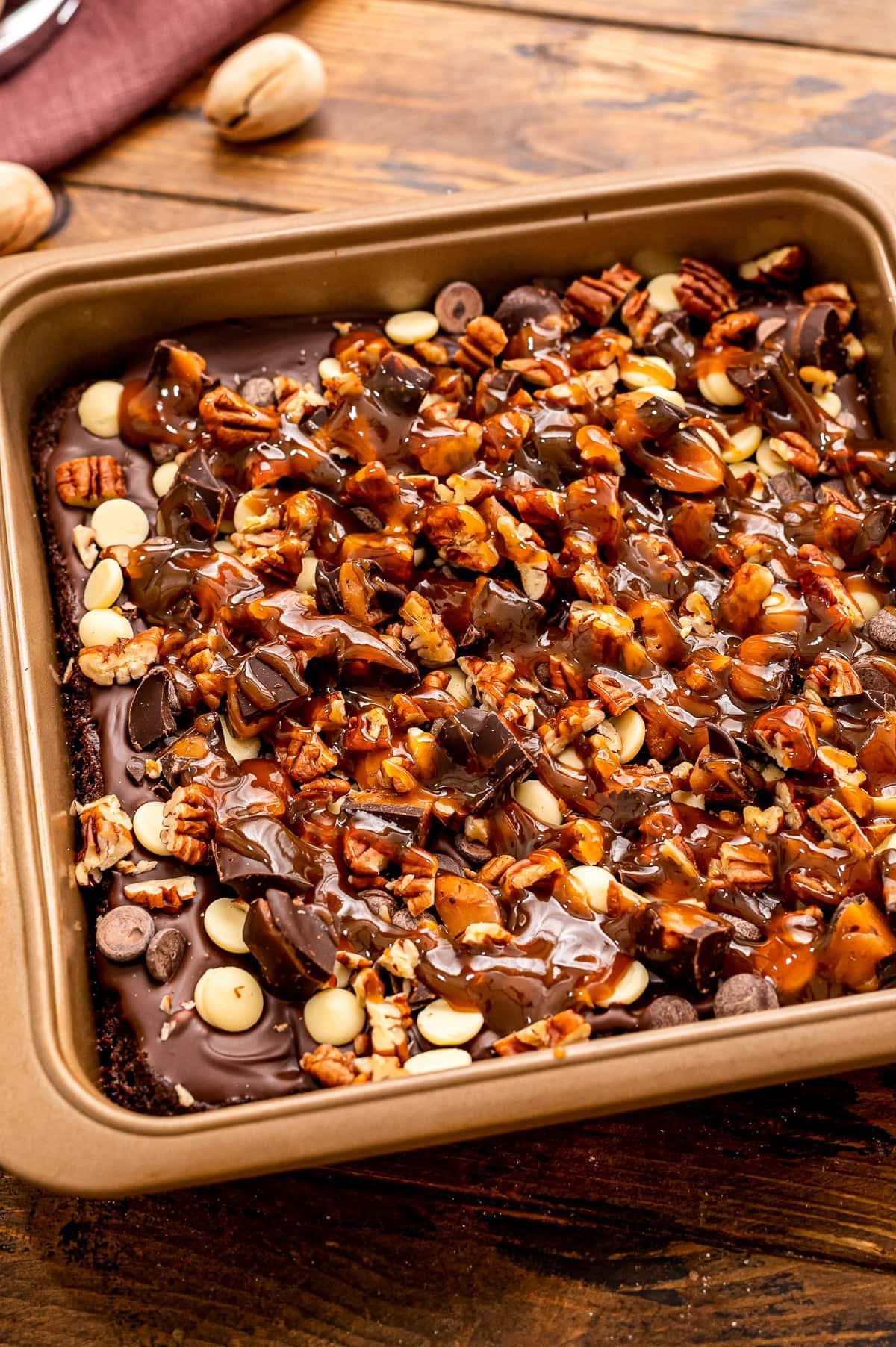 Pan with prepared Turtle Brownies