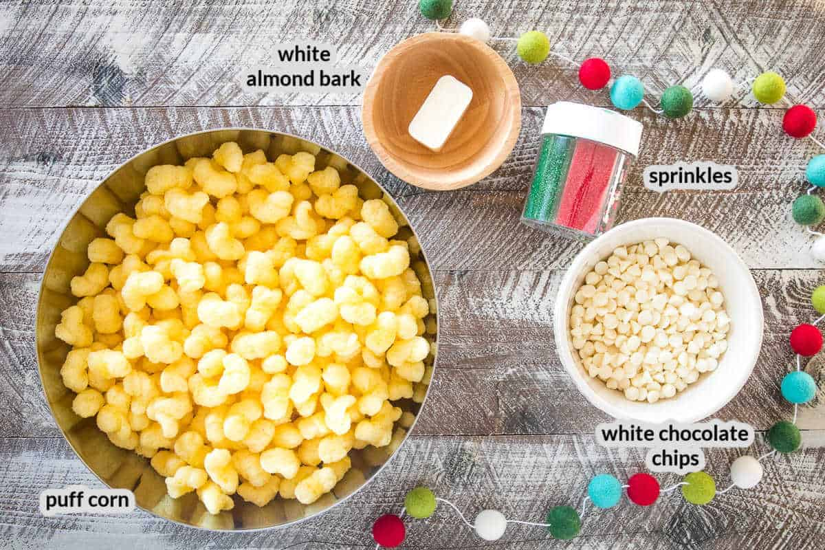 Overhead image of white chocolate puff corn Ingredients with labels