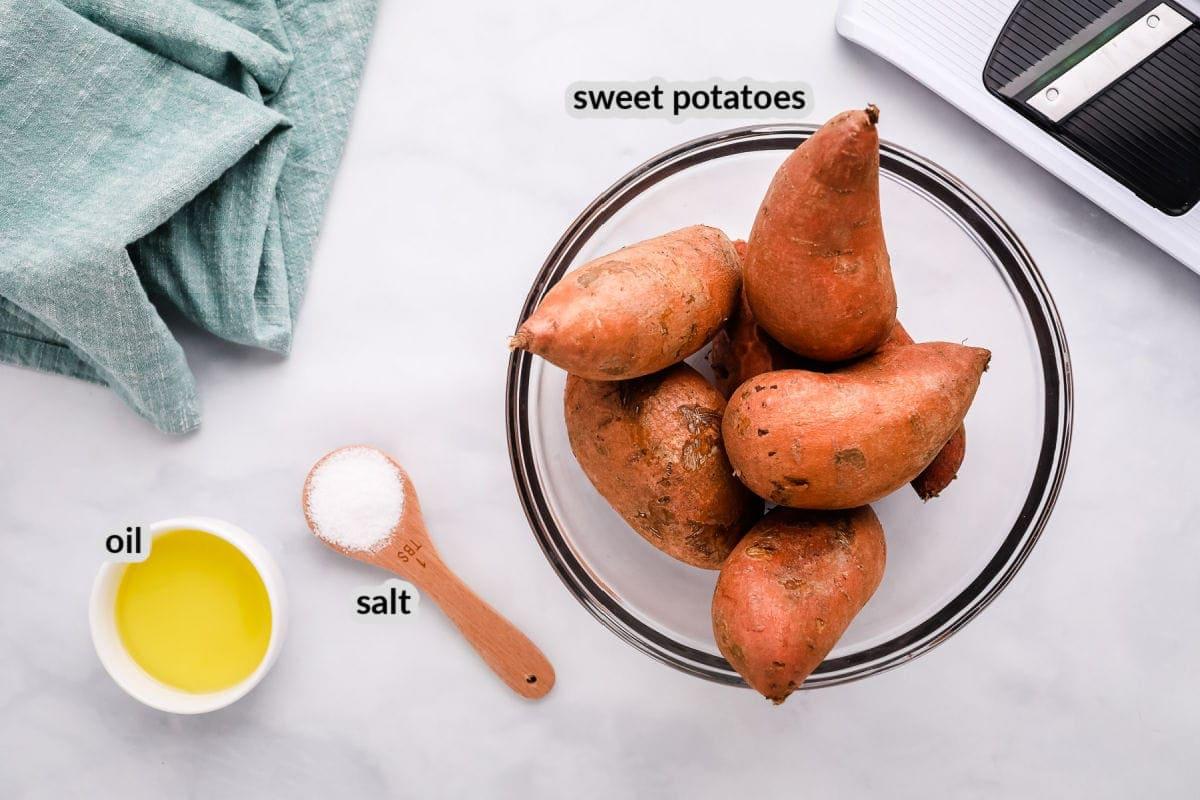 Overhead image of Air Fryer Sweet Potato Chips Ingredients