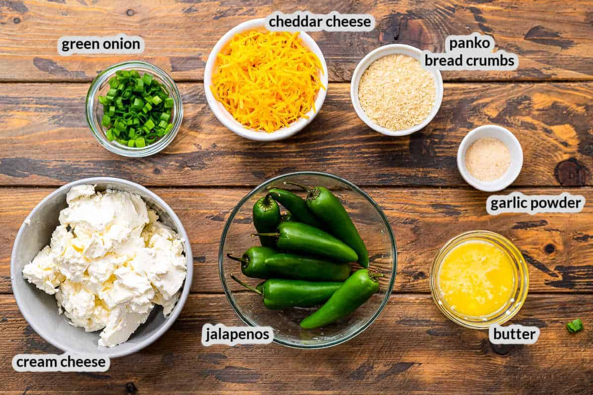 Overhead Image of Jalapeno Poppers Ingredients