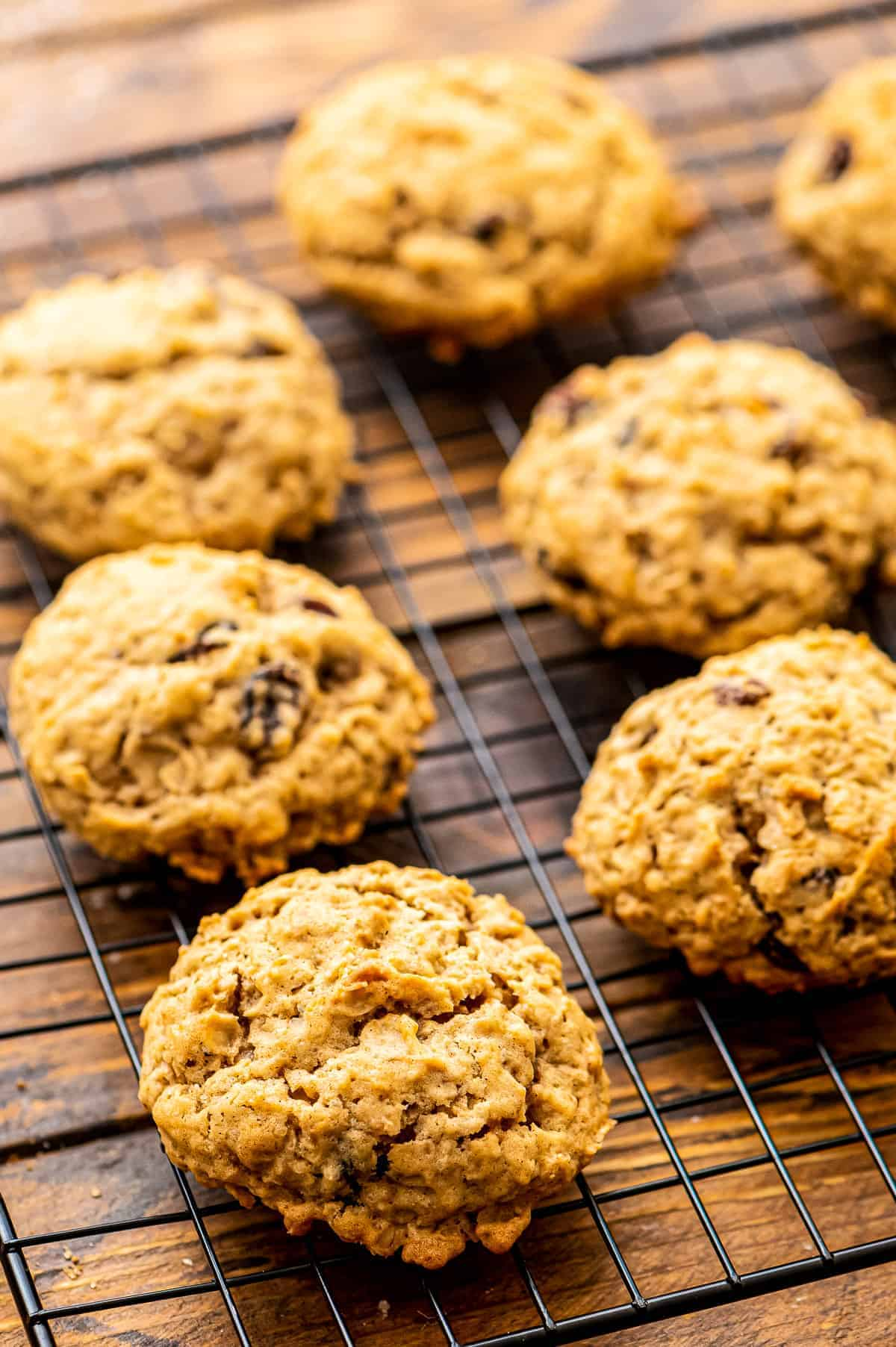 Oatmeal Raisin Cookies on a wire cooling rack