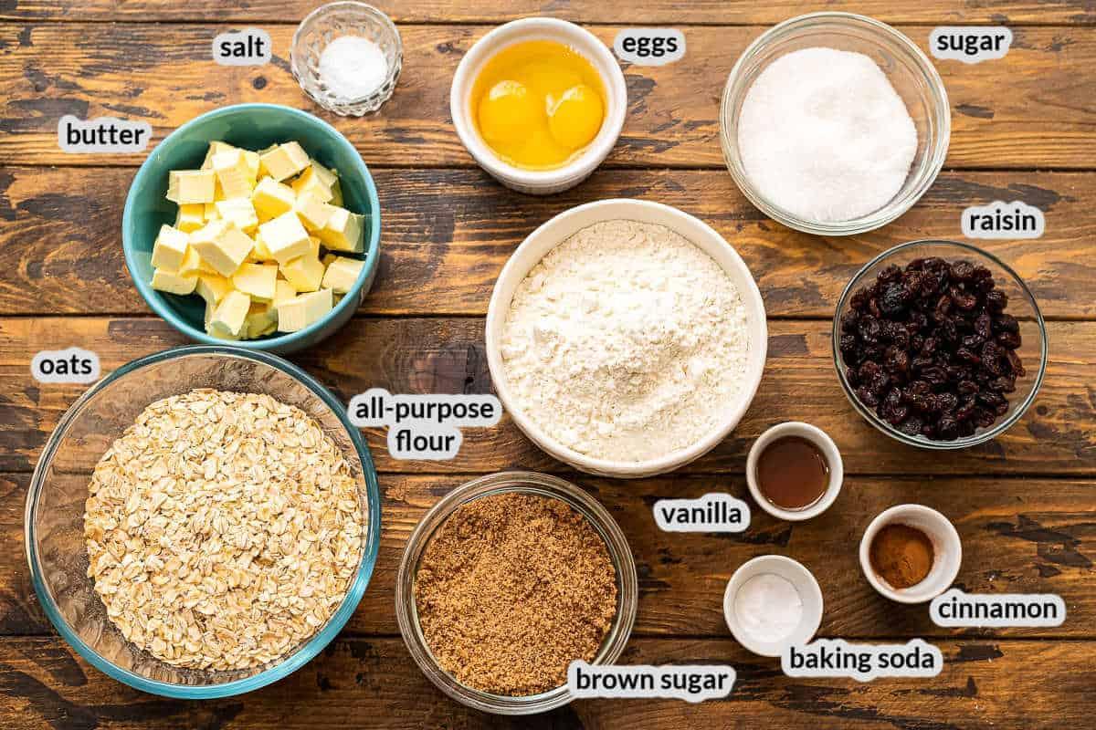 Overhead Image of Oatmeal Raisin Cookies Ingredients