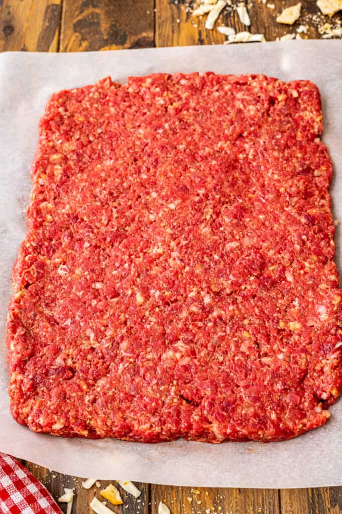 Italian Meatloaf ingredients spread out into rectangle