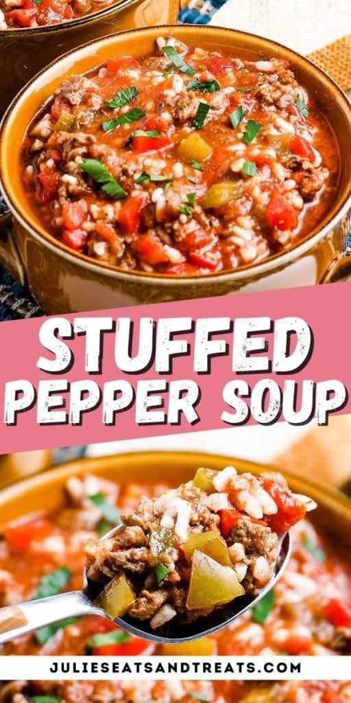 Stuffed Pepper Soup Pin Image with bowl of soup on top, text overlay of recipe name in middle, spoonful of soup on bottom photo.