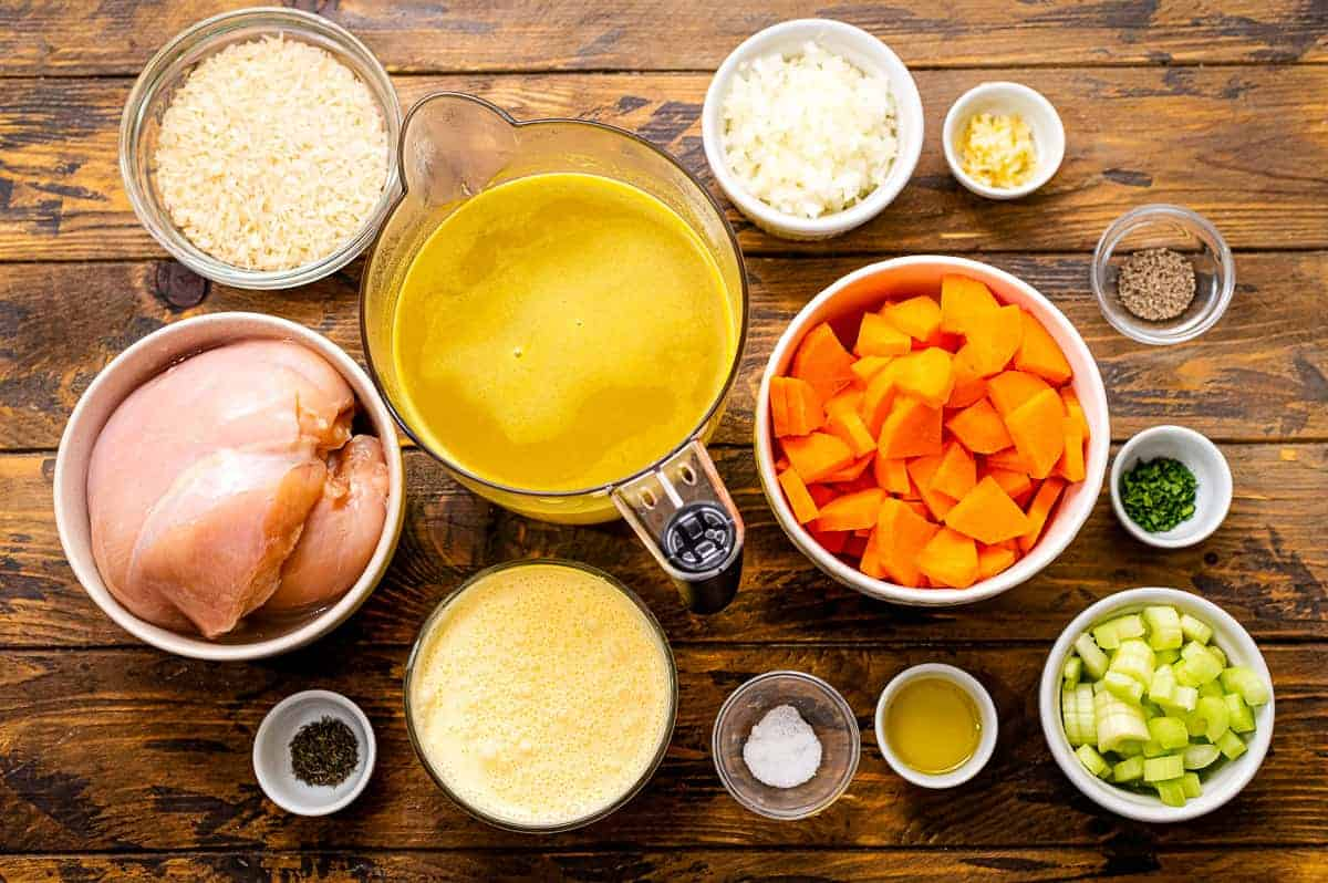 Overhead Image of Chicken Rice Soup Ingredients
