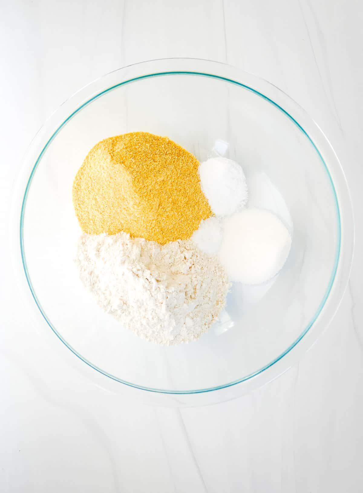Cornmeal Pancakes dry ingredients in glass bowl