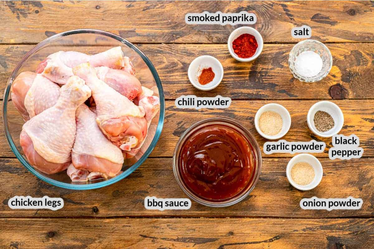 Overhead Image of Crock Pot Chicken Legs Ingredients
