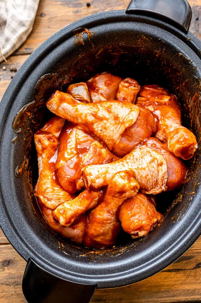 Crock Pot Chicken Legs tossed in bbq sauce