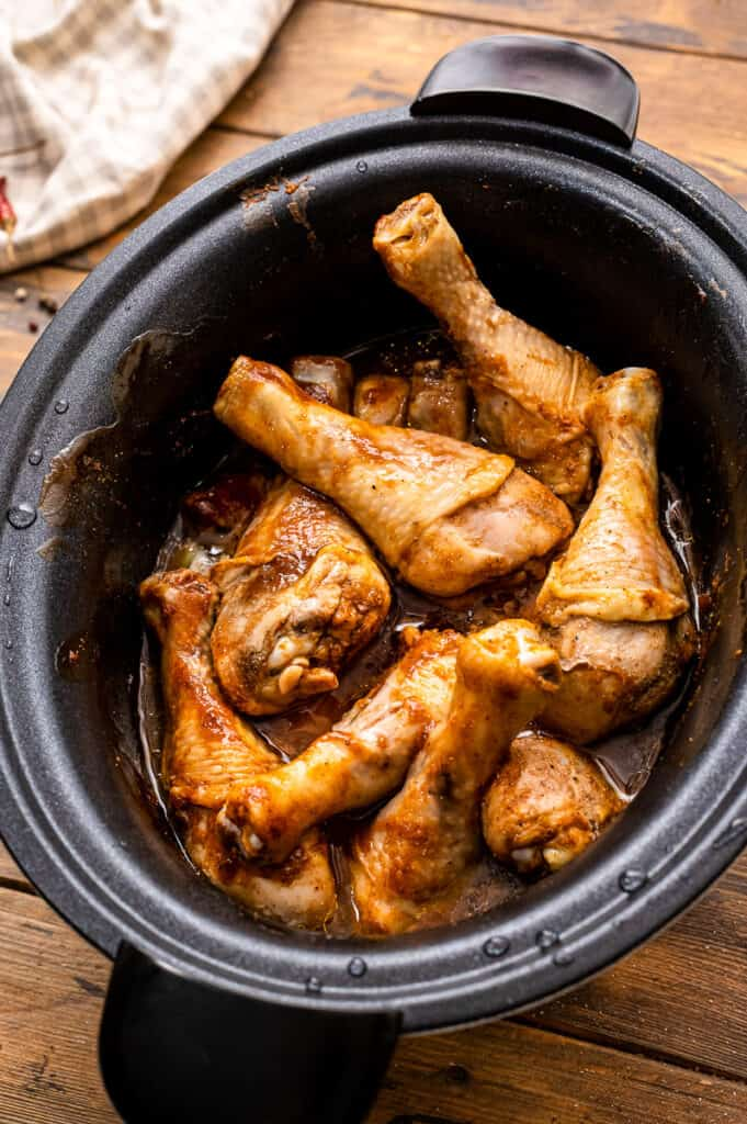 Cooked chicken legs in crock pot
