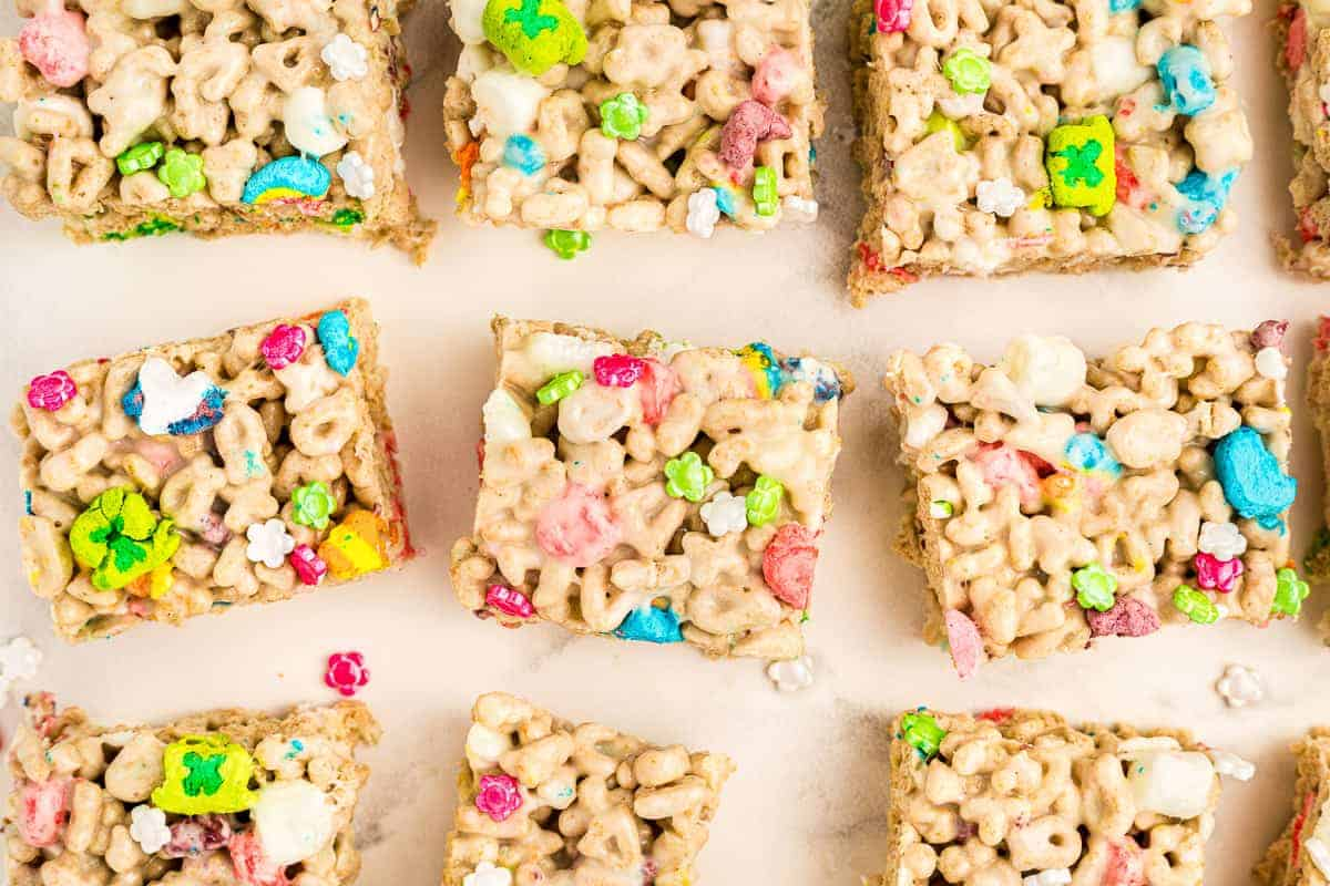 Overhead image of Cut Lucky Charms Bars