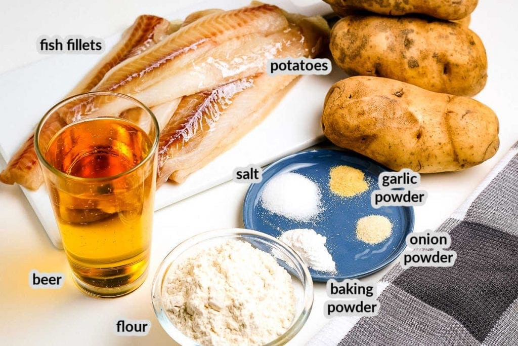 Beer Battered Fish and Chips Ingredients