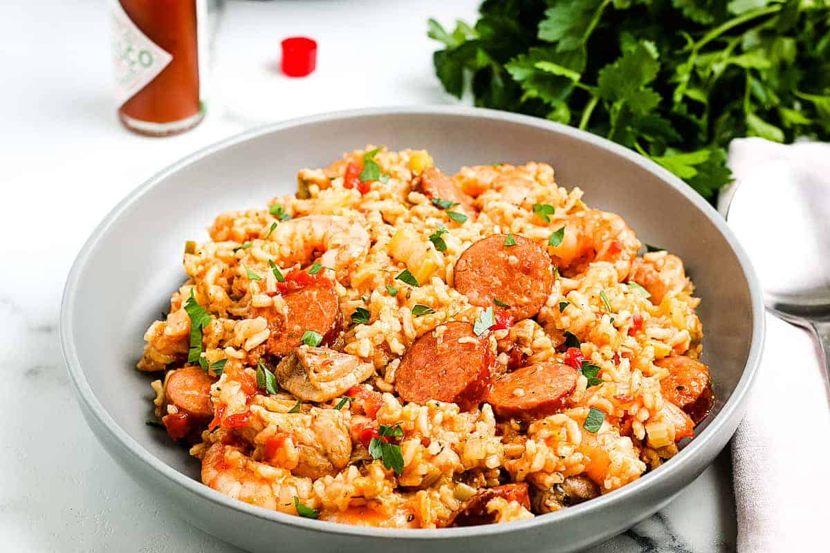 Gray plate with Instant Pot Jambalaya Recipe