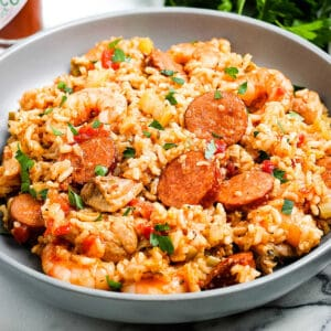 Close up of jambalaya on gray plate