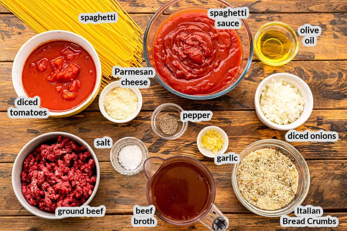 Overhead image of Instant Pot Spaghetti and Meatballs Ingredients