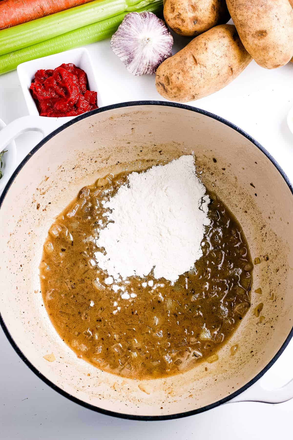 Flour added to drippings to make a roux