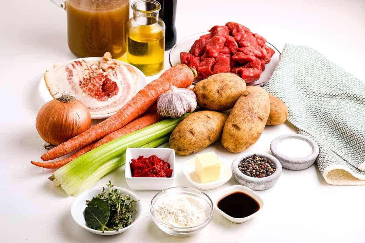 Overhead Image of Irish Beef Stew Ingredients