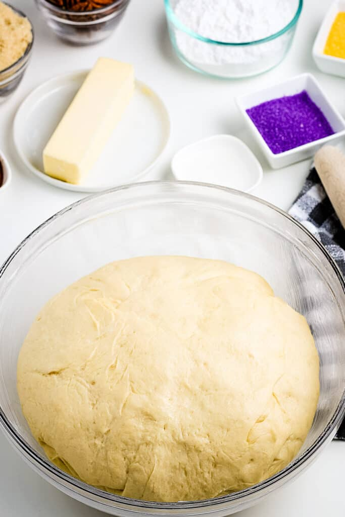 King Cake Dough after raising in glass bowl