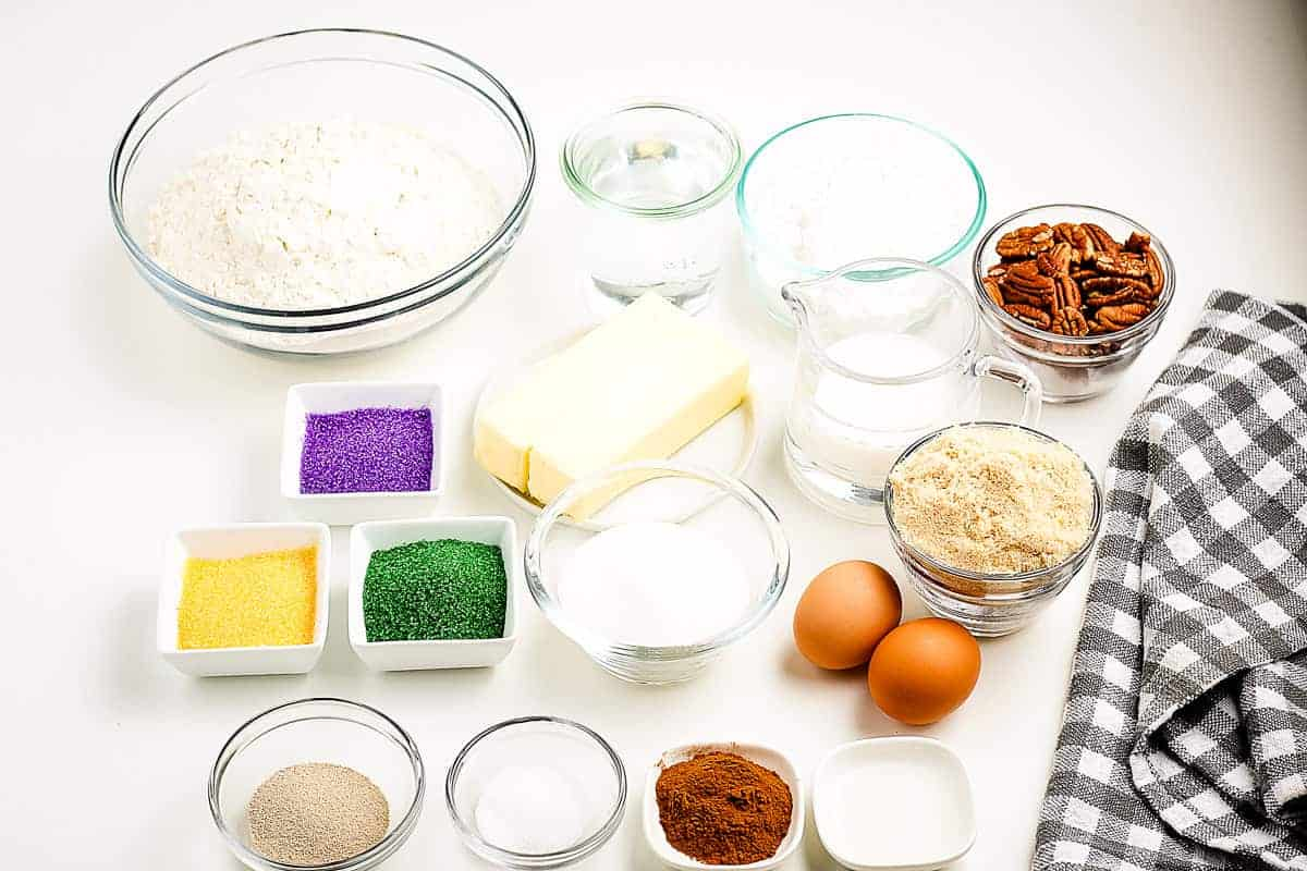 King Cake Ingredients in small bowls