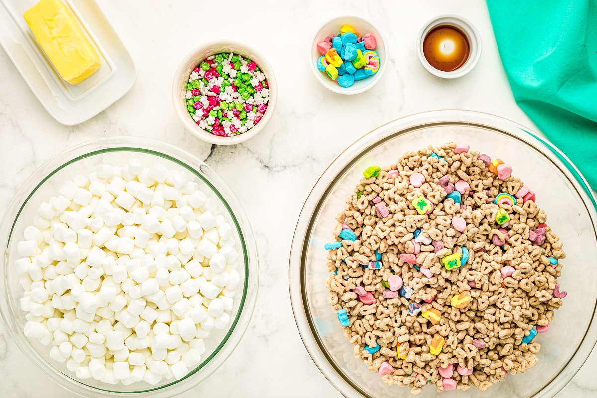Overhead image of Lucky Charms Bars Ingredients