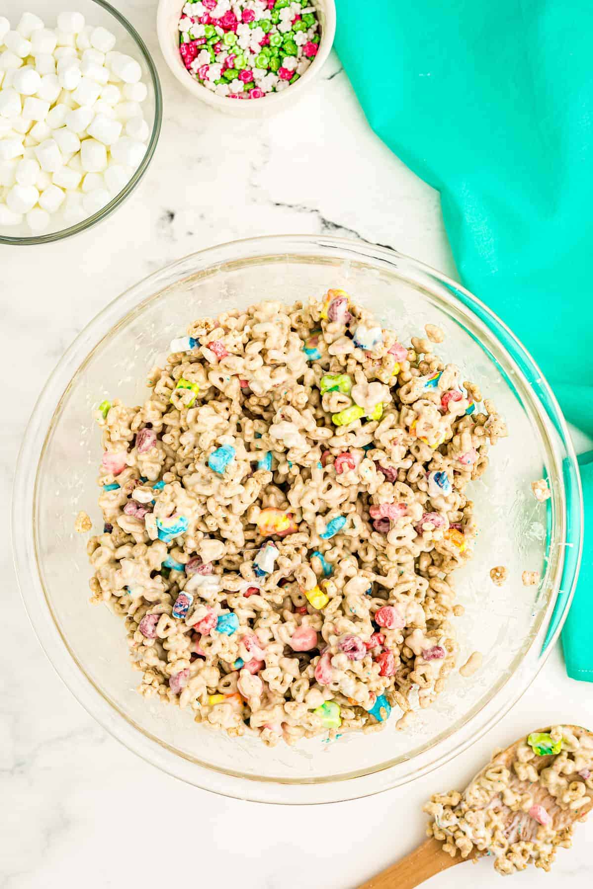 Bowl of Lucky charms and marshmallows mixture